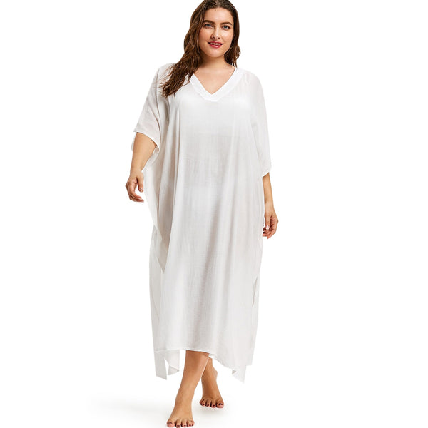Plus Size V Neck See Through Cover Up Dress