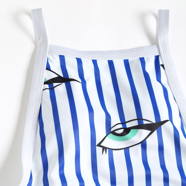 Stripe Eyes Print One Piece Swimsuit