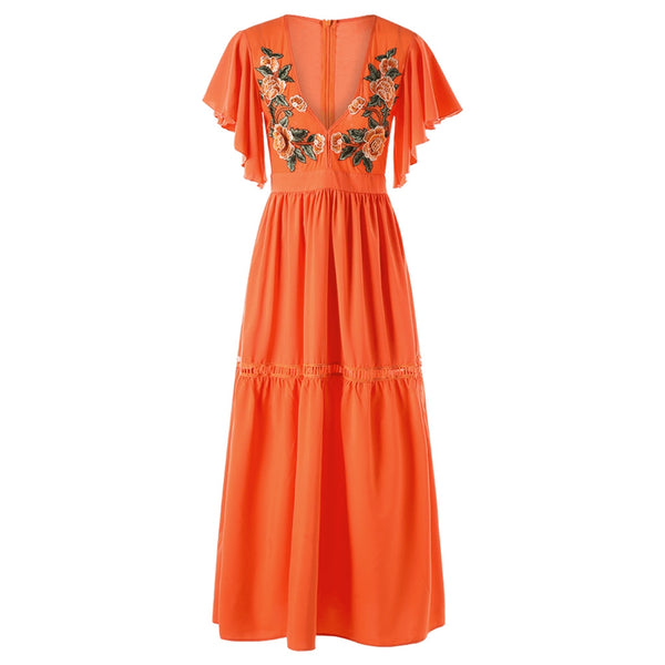 Flutter Sleeve Plunging Neck Embroidery Dress