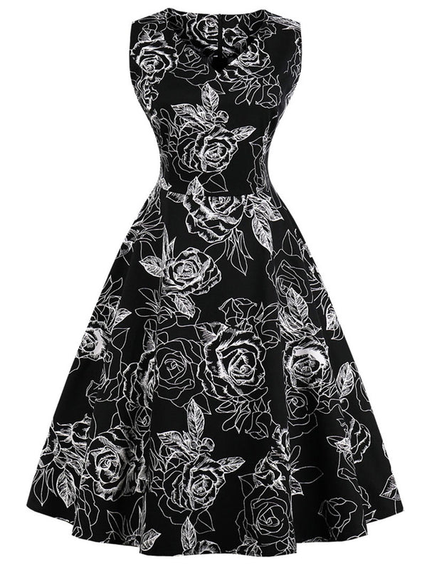 Retro V Neck Floral Fit and Flare Dress
