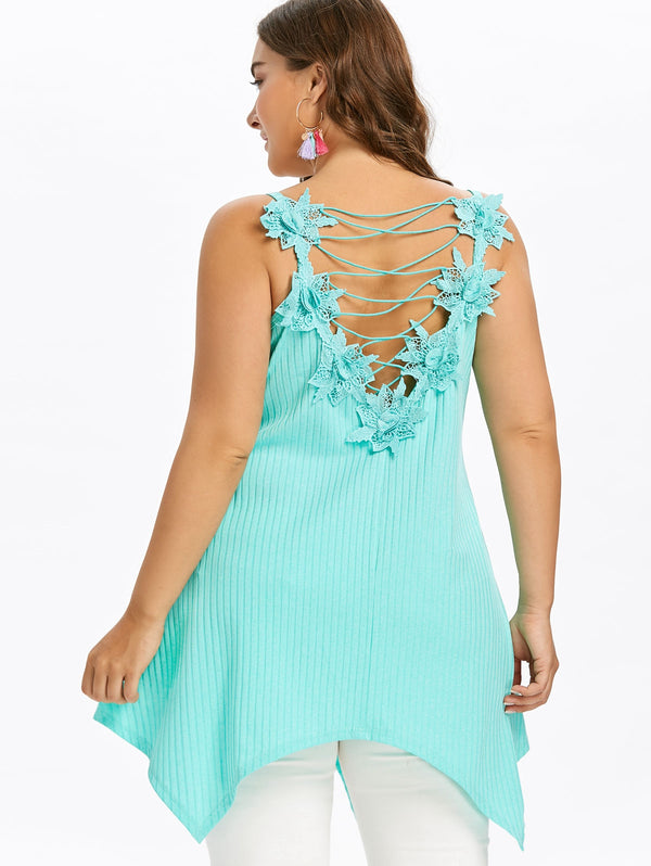 Plus Size Stereo Flower Lace Up Tank Top