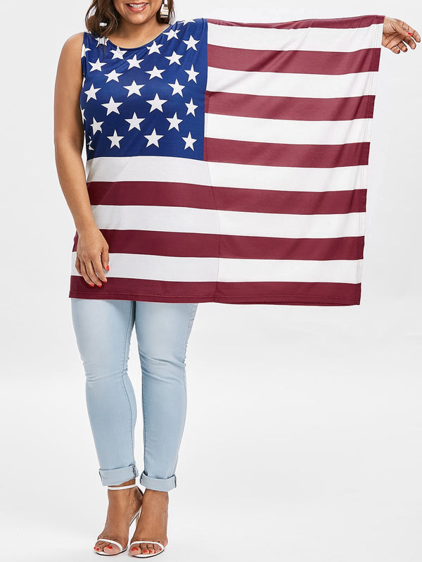 Plus Size American Flag T-shirt