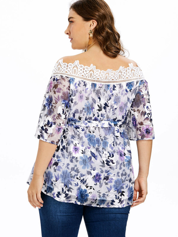 Plus Size Off The Shoulder Pleated Blouse