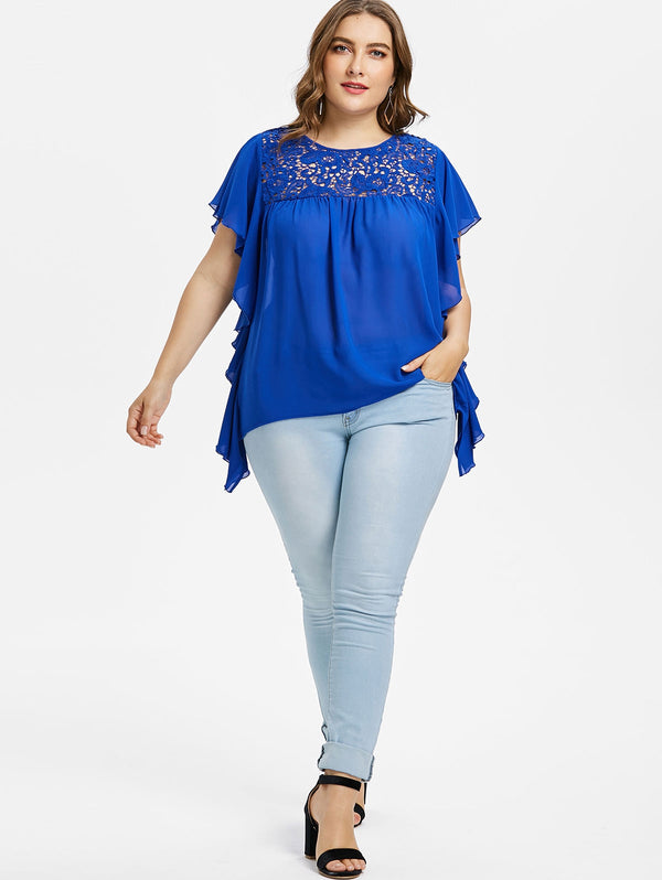 Plus Size Ruffle Lace Trim Blouse