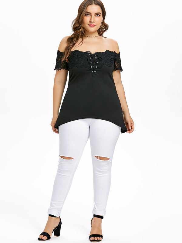 Plus Size Off Shoulder Asymmetrical T-shirt