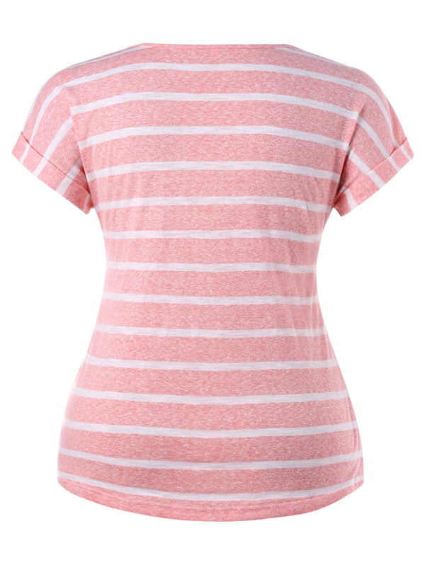 Plus Size Striped Short Sleeve T-shirt