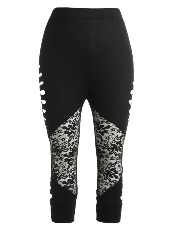 Plus Size Ladder Cut High Waisted Leggings
