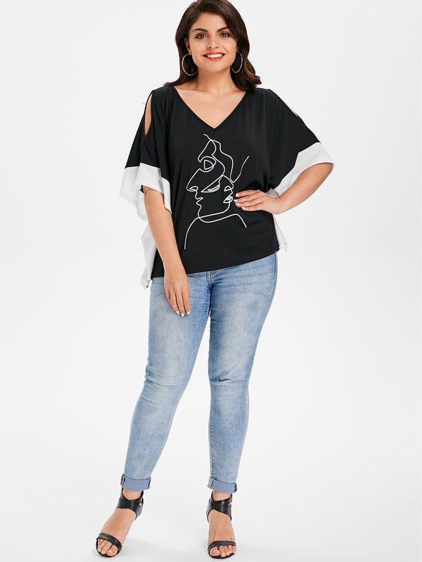 Plus Size Back Cut Out Figure Pattern T-shirt