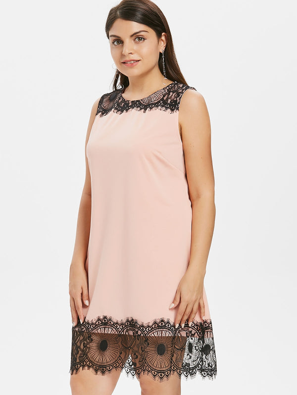 Lace Brim Plus Size Summer Dress