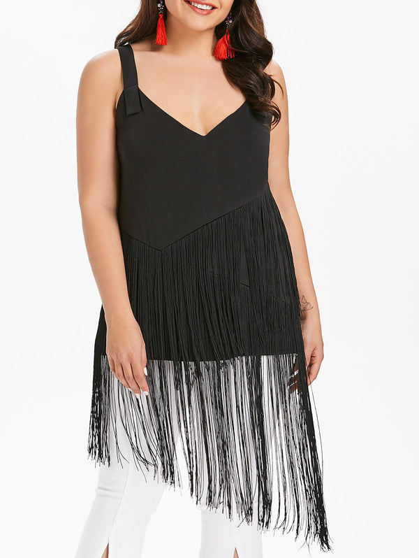 Plus Size Plunging Neck Fringe Insert Top