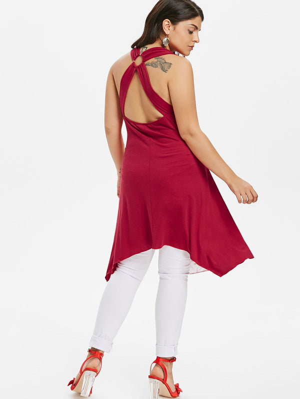 Plus Size Ruffle Trim Open Back Tank Top