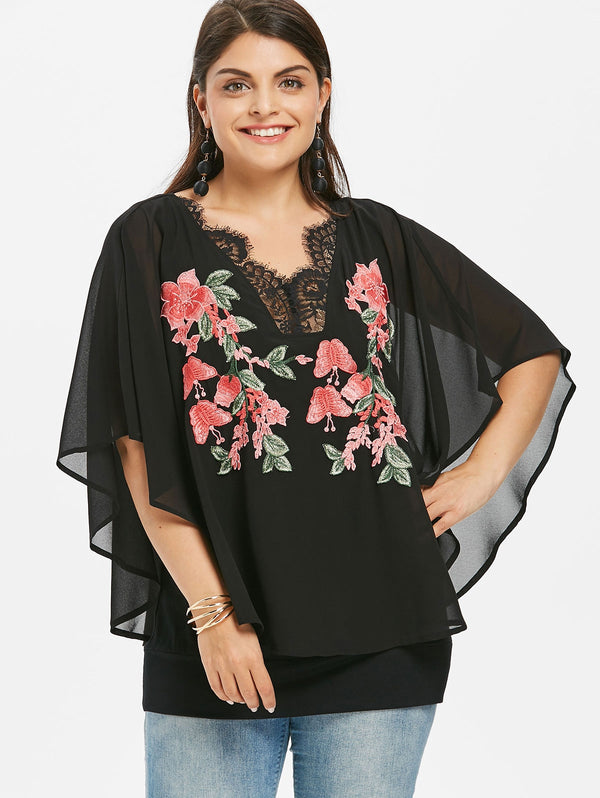 Plus Size Embroidery Cape Blouse