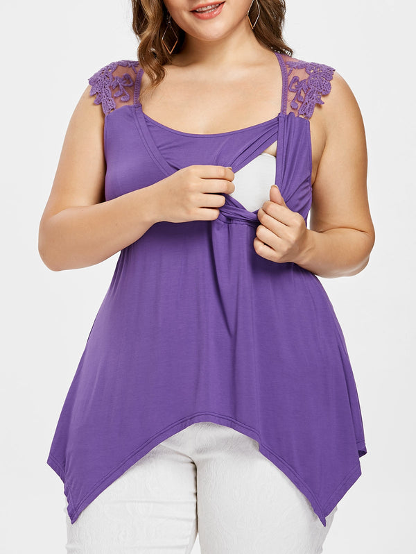 Plus Size Asymmetric Nursing Tank Top
