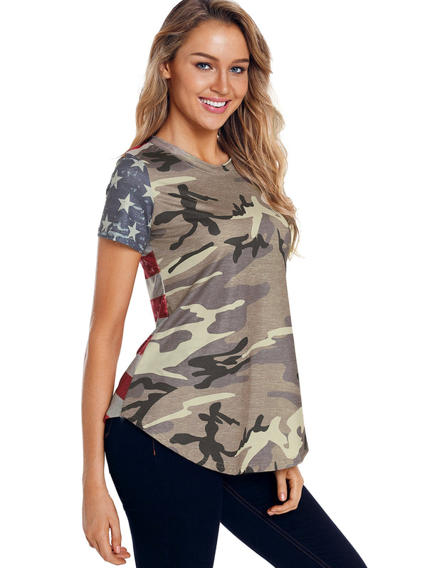Back Striped Insert Camouflage T-shirt