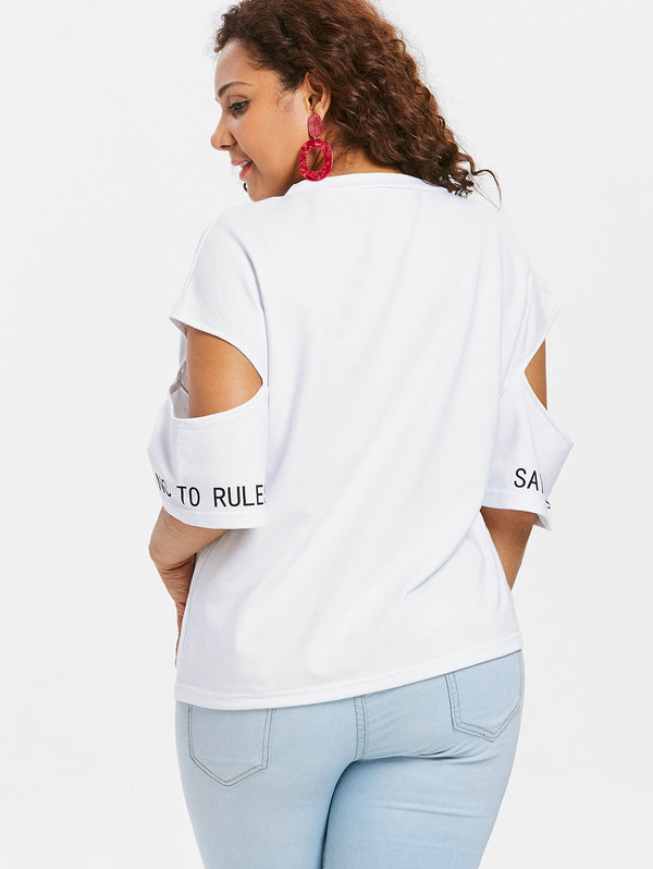 Plus Size Color Block Letter Print T-shirt