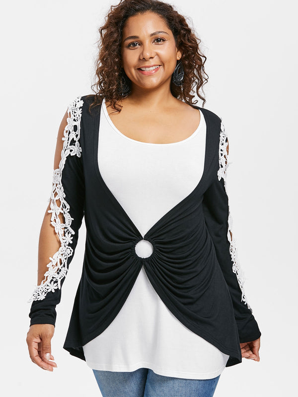 Plus Size Two Tone Long Sleeve T-shirt