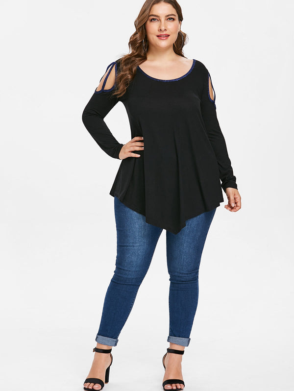 Plus Size Back Bow Tie Embellished Cut Out T-shirt