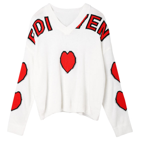 Heart Graphic Drop Shoulder Sweater