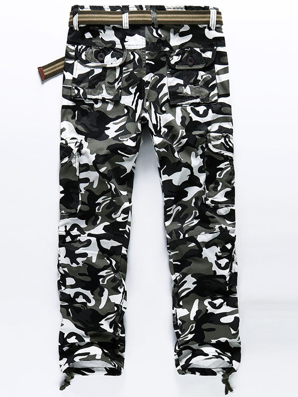 Camouflage Print Drawstring Bottom Cargo Pants