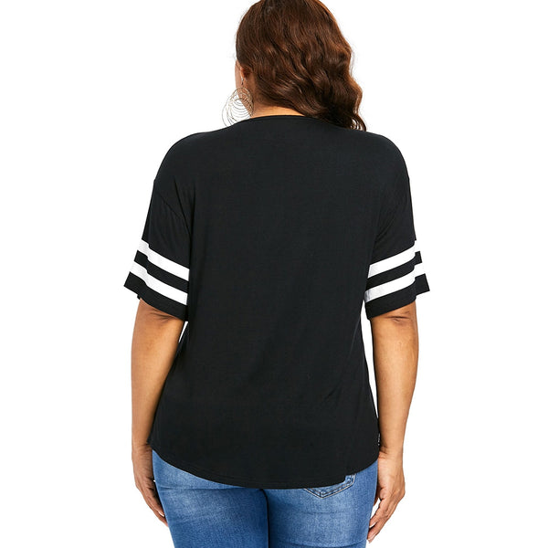 Letter Print Plus Size Criss Cross Color Blocking T-shirt