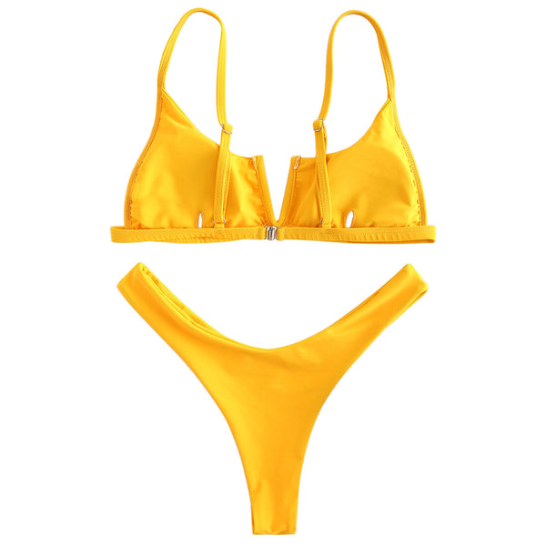 V-Wired High Leg Bikini Set