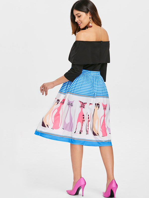 Off The Shoulder Ruffled Printed Dress