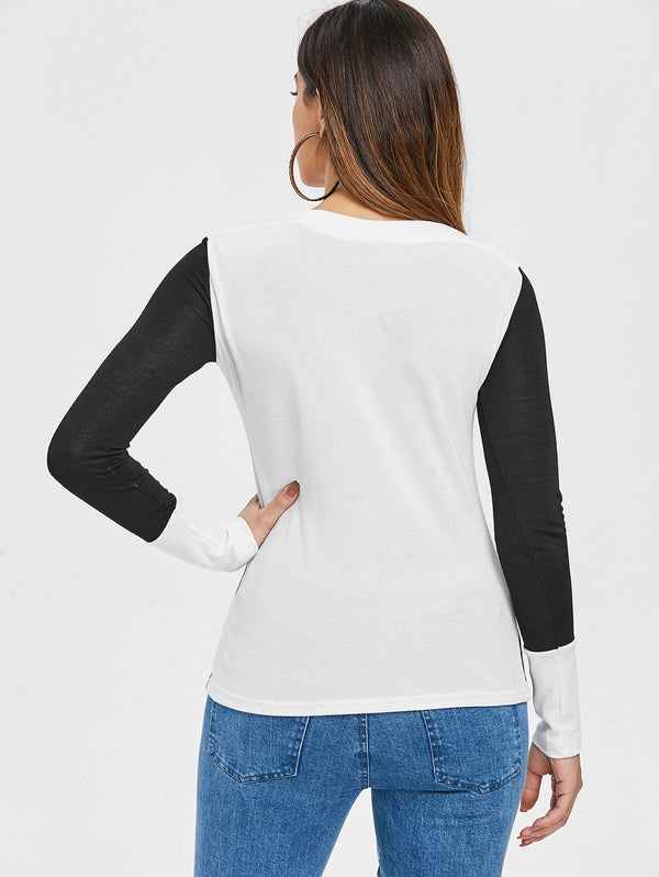 Two Tone Long Sleeve Top