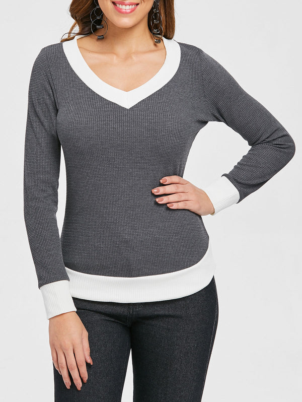 Contrast Trim Knit Top