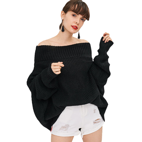 Off Shoulder Chunky Knit Loose Fit Sweater