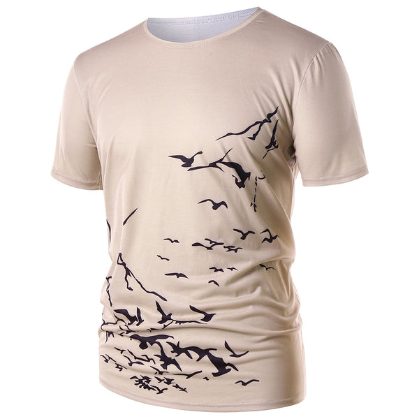 Round Neck Flying Wild Goose Print Short Sleeve T-shirt