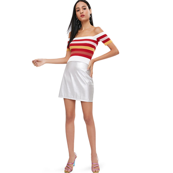 Striped Off The Shoulder Ribbed Short Sleeve Sweater