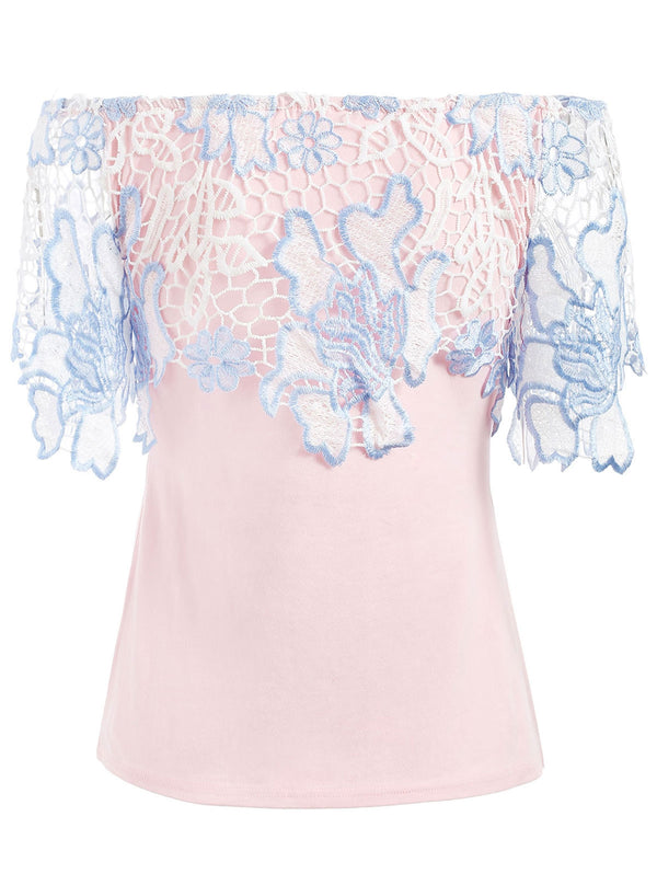 Off The Shoulder Lace Panel Tee