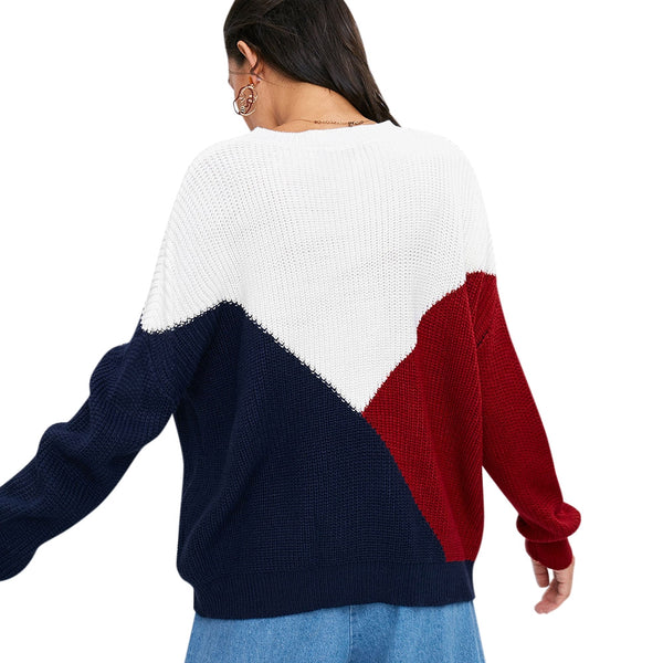 Dropped Shoulder Color Blocking Oversized Sweater