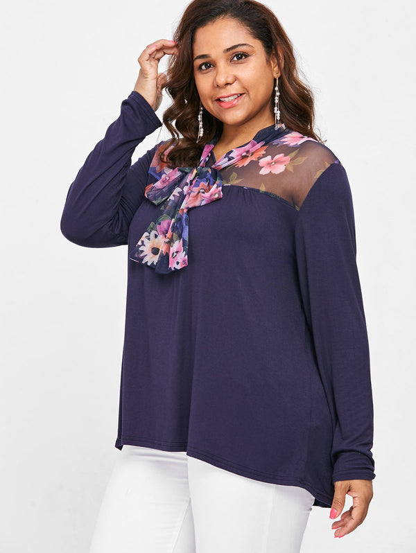 Plus Size Floral Blouse with Neck Tie