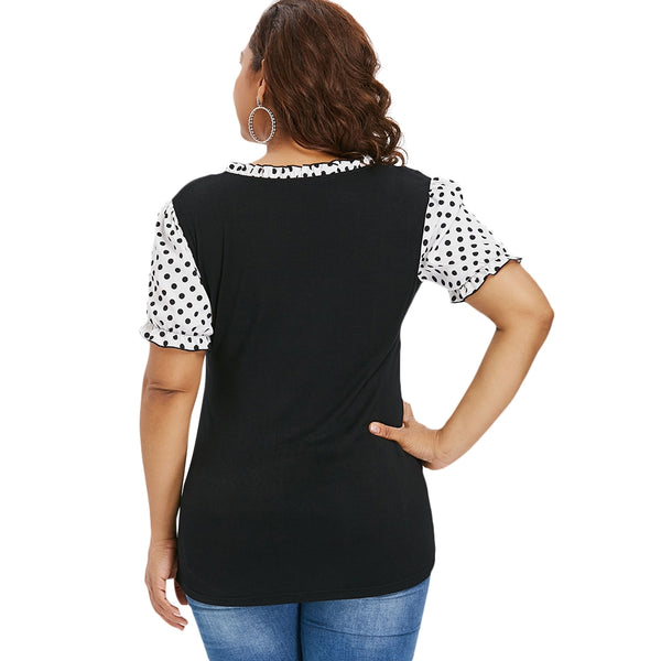Plus Size Ruffle Polka Dot Sweetheart Neck T-shirt