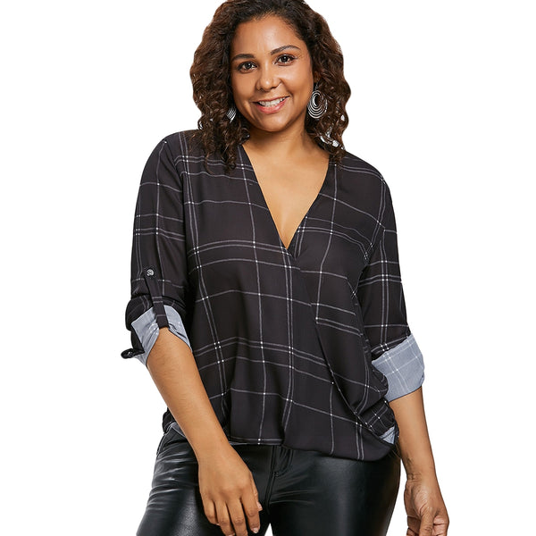 Plus Size Color Block Plaid Blouse