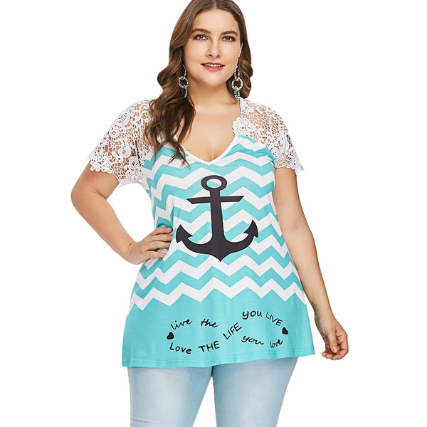 Plus Size Anchor Graphic V Neck T-shirt
