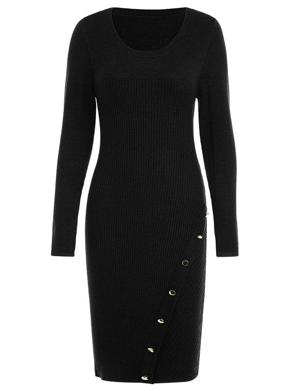 Button Embellished Bodycon Sweater Dress