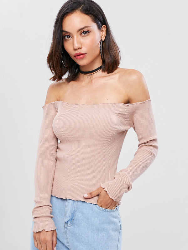 Lettuce Off The Shoulder Ribbed Sweater