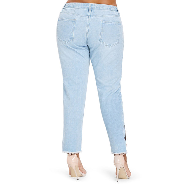 Plus Size Embroidery Shredding Straight Jeans
