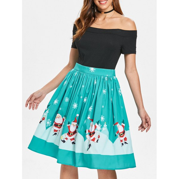 Christmas Off The Shoulder Swing Dress