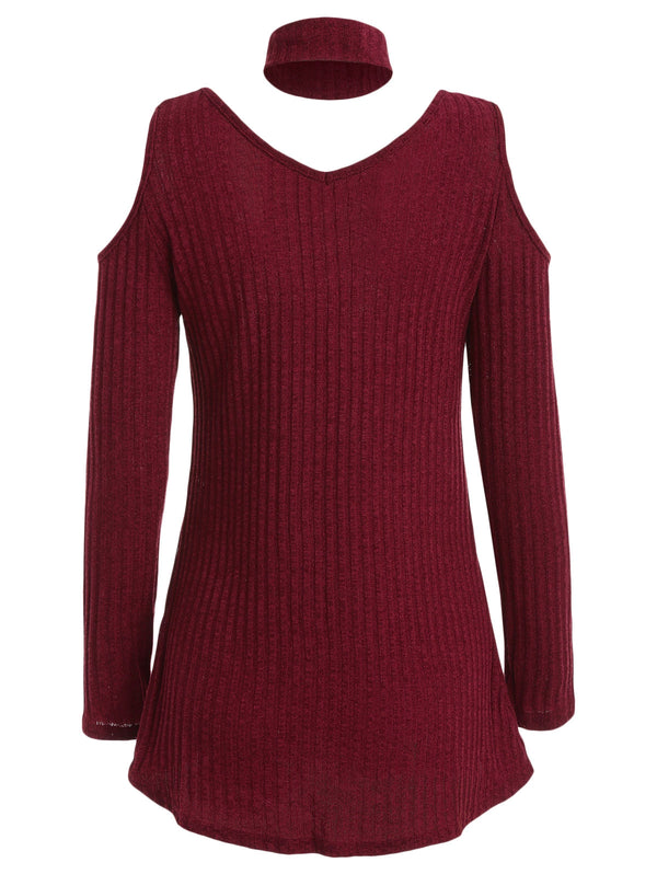 Knit Cut Out Long Sleeve Top