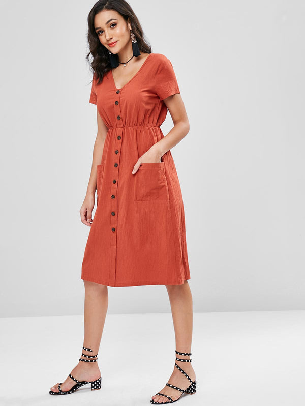 Patch Pocket Midi Dress