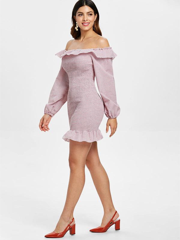 Puff Sleeve Shirred Mini Dress