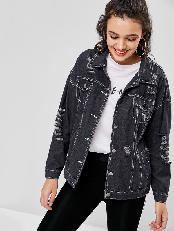 Distressed Drop Shoulder Jean Jacket
