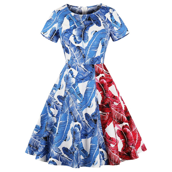 Vintage Feather Print Fit and Flare Dress