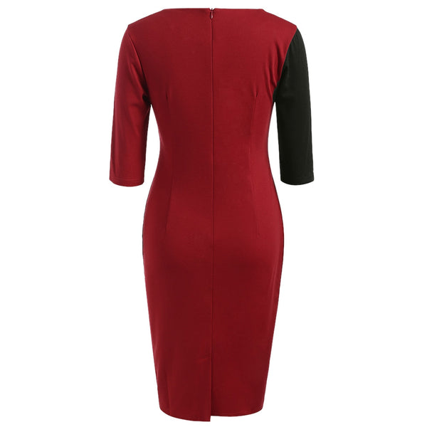Contrasted Half Sleeve Sheath Dress