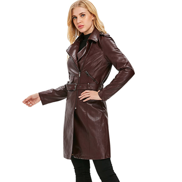 Oblique Zipper Belted Long Coat