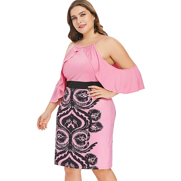 Plus Size Cold Shoulder Knee Length Ruffle Fitted Dress