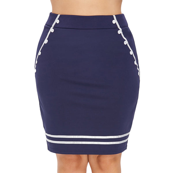 Plus Size Button Embellished Pencil Skirt